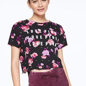 NIP VS Pink Floral Rhinestone Bling Crop Top